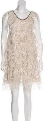 Brunello Cucinelli Feather-Trimmed Shift Dress w/ Tags