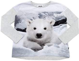 Molo Polar Bear Print Cotton Jersey T-Shirt