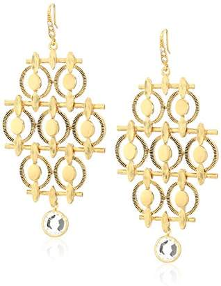 Badgley Mischka Geo Chandelier Gold Tone Drop Earrings
