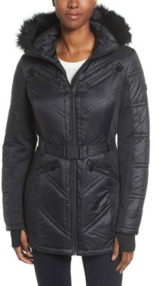 Women's Michael Michael Kors Belted Mixed Media Coat With Faux Fur Trim Hood $228 thestylecure.com