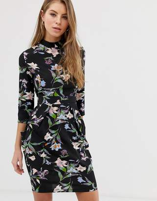 Qed London QED London high neck tulip dress in floral print