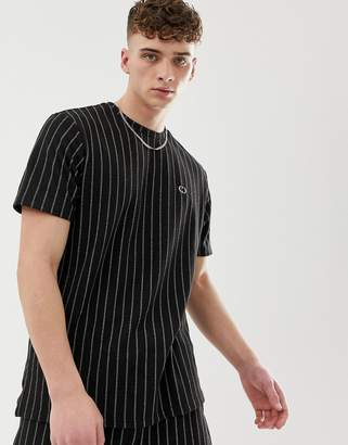 Criminal Damage two-piece oversized t-shirt in black with pin stripe