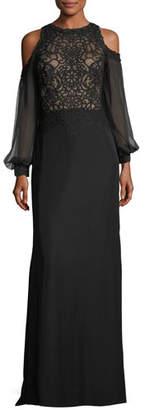 Tadashi Shoji Cold-Shoulder Long-Sleeve Lace Combo Gown