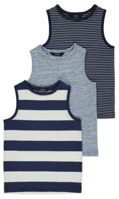 George Navy Striped Vest Tops 3 Pack