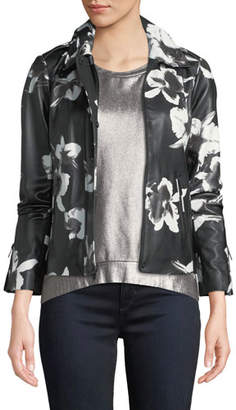 Neiman Marcus Leather Collection Floral-Print Leather Jacket