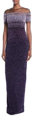 Pamella Roland Jewel-Neck Cap-Sleeve Ombre Sequin Evening Gown