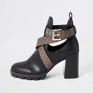 River Island Black strappy RI embossed cutout heel boots