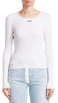 Off-White Basic Ribbed Long-Sleeve Top
