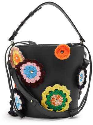 J.W.Anderson Bucket Crochet Applique Leather And Canvas Tote - Womens - Black Multi