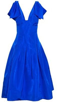Oscar de la Renta Cold-shoulder Knotted Pleated Silk-taffeta Midi Dress