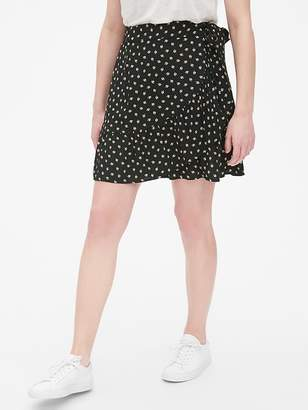 Gap Print Ruffle Wrap Mini Skirt
