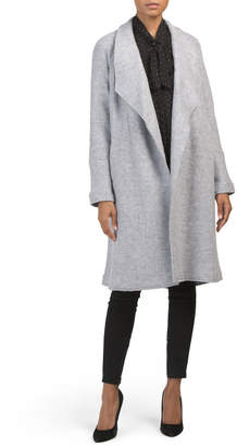 Solid Long Coat With Raw Edge Seaming