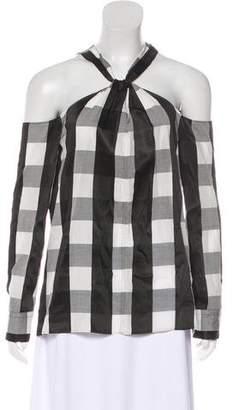 Rag & Bone Open Shoulder Long Sleeve Gingham Top