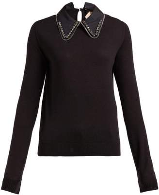 No.21 No. 21 - Embellished Collar Wool Blend Sweater - Womens - Black
