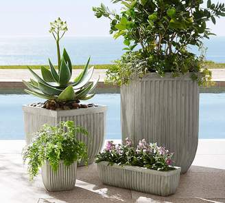 Pottery Barn Concrete Fluted Planter - Square