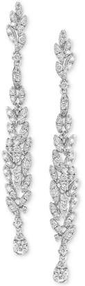Effy Diamond Cluster Linear Drop Earrings (1-1/3 ct. t.w.) in 14k White Gold