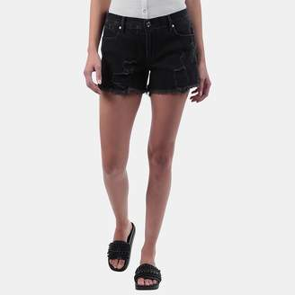 RtA Olivia Distressed Denim Short in Ash Destroyed