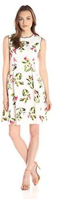 Lark & Ro Women's Sleeveless Floral Printed Fit and Flare Dress