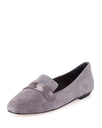 Delman Fab Patent-Strap Suede Loafer, Smoke $228 thestylecure.com