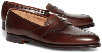Brooks Brothers Peal & Co. Dark Brown French Pebble Leather Saddle Strap Penny Loafers