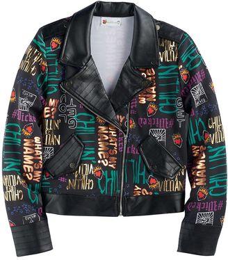 Disney D-signed Descendants 2 Girls 7-16 Foil Printed Text Moto Jacket $50 thestylecure.com