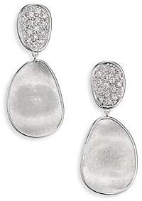 0bc83cc6e432 Marco Bicego Women s Lunaria Small Diamond  18K White Gold Double-Drop  Earrings