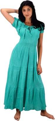 Couture Peach Gypsy Boho Cap Sleeves Smocked Waist Tiered Renaissance Maxi Dress ( L)