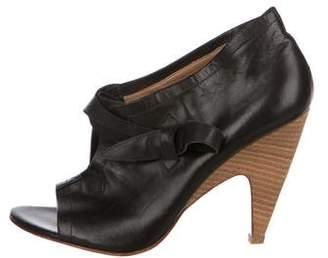 Sigerson Morrison Leather Peep-Toe Sandals