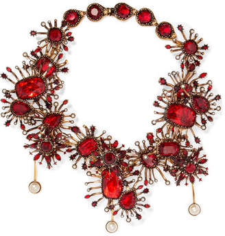 Alexander McQueen Gold-plated, Crystal And Faux Pearl Necklace
