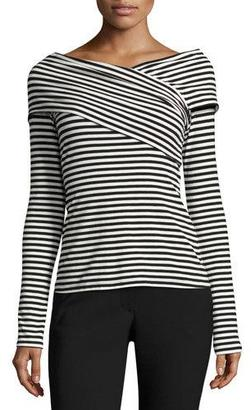 Theory Kellay Striped Ribbed Top, Black/White $190 thestylecure.com