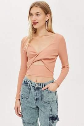 Topshop Twist Front Ribbed Top