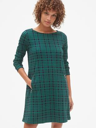 Gap Plaid Long Sleeve A-Line Dress with Zip-Pockets