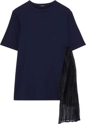 Clu Pleated Chiffon-appliqued Cotton-jersey T-shirt