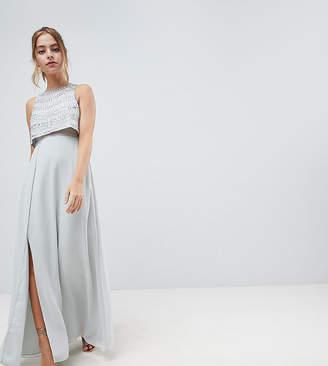 Asos Design Petite Silver Embellished Crop Top Maxi Dress