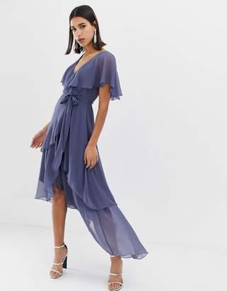 Asos Design DESIGN cape back dipped hem maxi dress