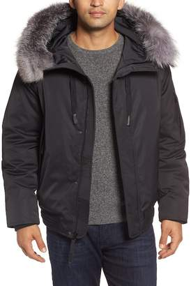 Andrew Marc Bomber Jacket w/ Genuine Fox Fur Trimmed Hoodie