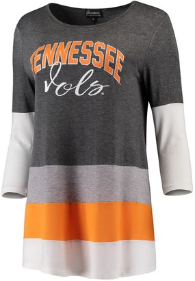 Unbranded Women's Charcoal/Tennessee Orange Tennessee Volunteers Block Party Color Blocked Drapey Long Sleeve Tri-Blend Tunic Shirt