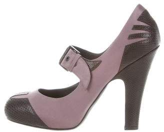 Bottega Veneta Karung-Trimmed Mary Jane Pumps w/ Tags