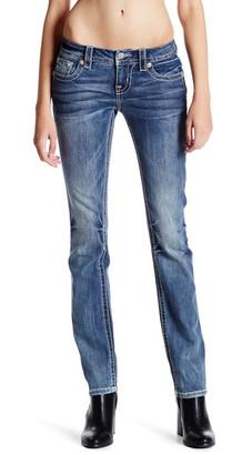 MISS ME Rhinestone Embroidered Pocket Straight Leg Jean $99.50 thestylecure.com