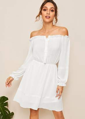 Shein Bardot Elastic Waist Solid Dress