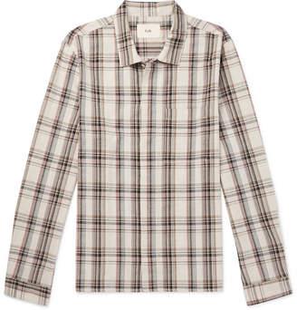Folk Cutaway-Collar Checked Cotton Shirt