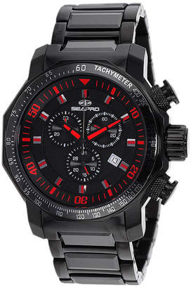 Seapro Coral Mens Black Ceramic Bracelet Watch