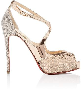 Christian Louboutin Women's Mira Bella Mesh & Specchio Leather Platform Sandals