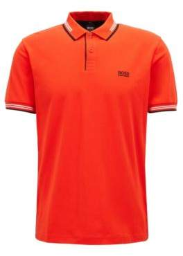 BOSS Hugo Slim-fit stretch-cotton polo shirt contrast tipping L Dark Orange