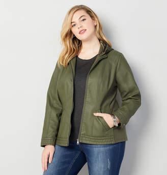ac9a8111ea5 Avenue Faux Leather Moto Jacket with Removable Hood