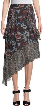 Anna Sui Birds & Roses Silk Skirt