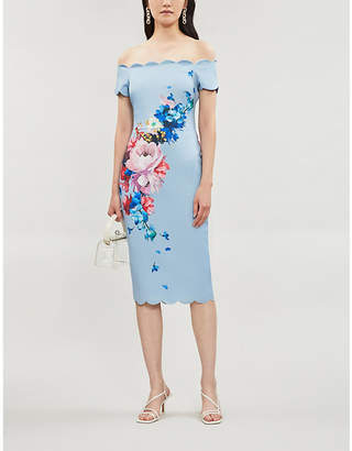 Ted Baker Raspberry Ripple Floral-Print Jersey Dress