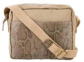 509d18d4176f Bottega Veneta Vintage Python-Trimmed Jute Crossbody Bag