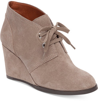 Lucky Brand Women's Seleste Lace-Up Wedge Booties $109 thestylecure.com