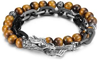 John Hardy Men's Naga Double Wrap Link Bracelet With Tiger's Eye